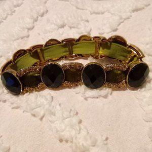 Vintage Monet Velvet and Beaded Stretch Bracelet